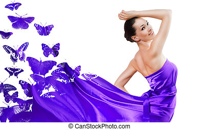 long dress - beautiful young woman in purple long dress