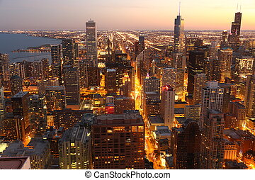 View to Downtown Chicago USA from high above at twilight
