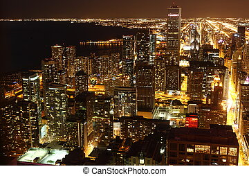 View to Downtown Chicago USA from high above at night