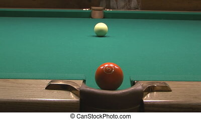 Billiard. - Fifth poll ball goes into the central pocket.