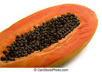 Papaya Fruit - Tropical Papaya Fruit Isolated on White...