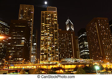 Downtown Chicago USA at night