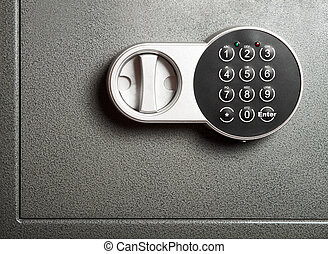 Electronic combinational lock - Close-up to steel safe door...