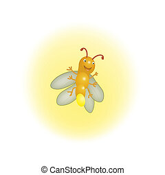 Firefly Illustration - Cute Firefly Illustration Lithning in...