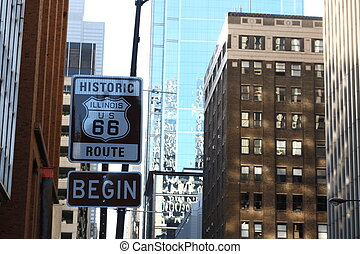 Road sign Begin of Route 66 in Chicago