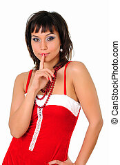Portrait of a young charming girl in a Santa suit