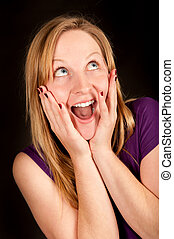 Funny portrait of a young female with wide open mouth -...