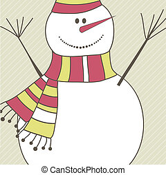 Christmas card with Snowman. Vector illustration