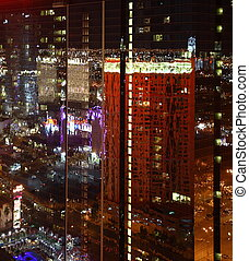 Reflections in Las Vegas / USA from high above at night