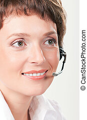 Support phone operator - Portrait of a friendly woman with...