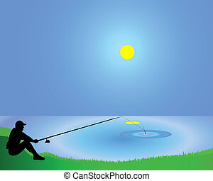 The fisherman with a fishing tackle on the bank of a pond