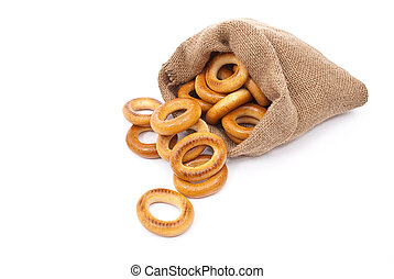 Burlap sack with bagels