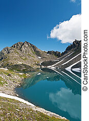 Pietra Rossa lake, Italy - summer view of Pietra Rossa Red...