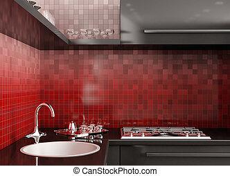 Modern kitchen 3d render - Modern black kitchen over the red...