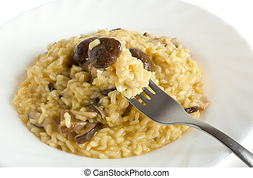 risotto with Boletus mushroom - plate withf risotto with...