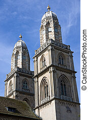 Grossmuenster in Zurich - Zurich famous landmark, the church...