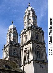 Grossmuenster in Zurich - Zurich famous landmark, the church...