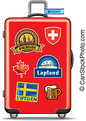 Suitcas for travel with stickers - Red suitcase for travel,...