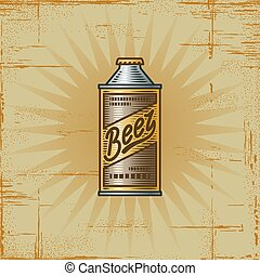 Retro Beer Can - Retro beer can in woodcut style Decorative...