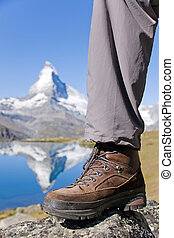 Hiking boots at the Matterhorn - Hiking boots in front of...