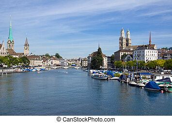 Zurich and the Limmat river - View over Zurich and the...