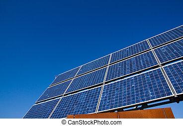 Solar energy panel with a blue sky