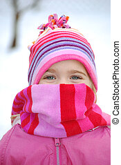 Wrapped Up - little girl outside in snow
