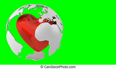 Globe with heart green background - Rotating globe with...