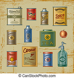 Retro grocery set - A set of retro grocery items Decorative...
