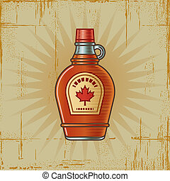 Retro Maple Syrup Bottle - Retro maple syrup bottle in...