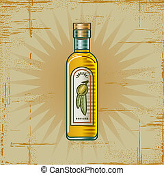 Retro Olive Oil Bottle - Retro olive oil bottle in woodcut...