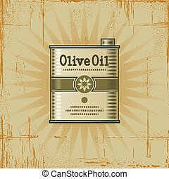 Retro Olive Oil Can - Retro olive oil can in woodcut style....