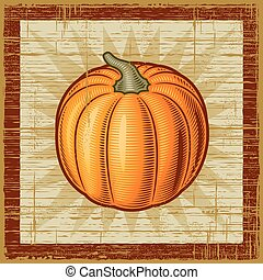Retro pumpkin on wooden background Vector illustration in...