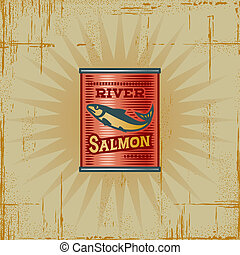 Retro Salmon Can - Retro salmon can in woodcut style...