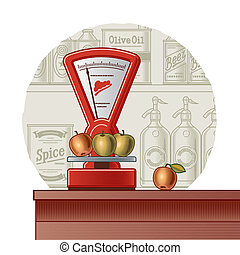 Retro scales on a food background in woodcut style Vector...