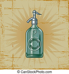 Retro Soda Siphon - Retro soda siphon in woodcut style...