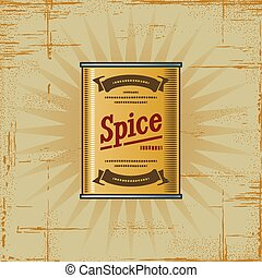 Retro Spice Can - Retro spice can in woodcut style....