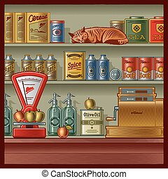 Retro store with scales, cash register, various foods and...