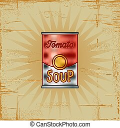 Retro Tomato Soup Can - Retro tomato soup can in woodcut...