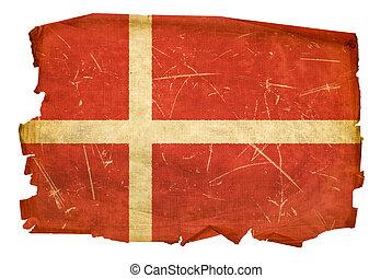Danish Flag old, isolated on white background.