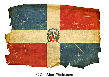 Dominican Republic Flag old, isolated on white background.