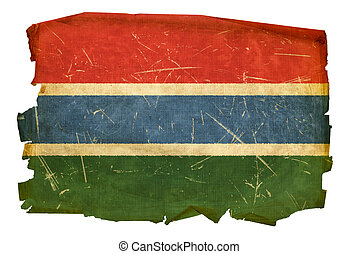 Gambia Flag old, isolated on white background.