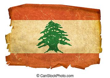Lebanese Flag old, isolated on white background.
