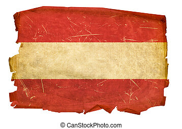 Austrian Flag old, isolated on white background.
