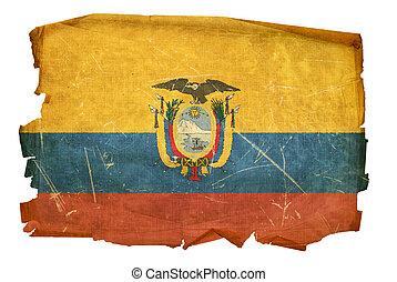 Ecuadorian Flag old, isolated on white background.