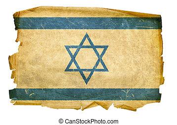 Israeli Flag old, isolated on white background