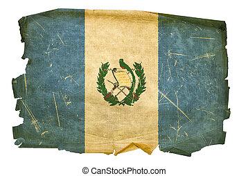 Guatemala Flag old, isolated on white background.