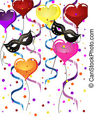 carnival party - vector illustration of venetian masks and...