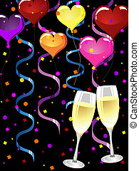 happy new year - vector illustration of glasses with...