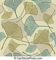 Seamless ginkgo background. Vector illustration with...